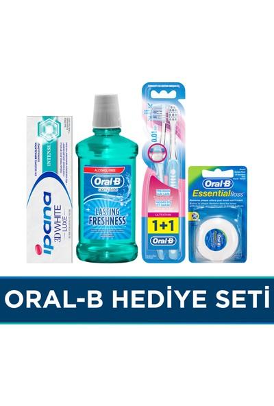 Oral-b Hediye Seti Ultra Thin 2'li Manuel Fırça + Essential Floss Diş İpi 50 m + Ağız Çalkalama Suyu Komple Bakım 500 ml + İpana 3 Boyutlu Beyazlık Luxe Intense 75 ml Diş Macunu