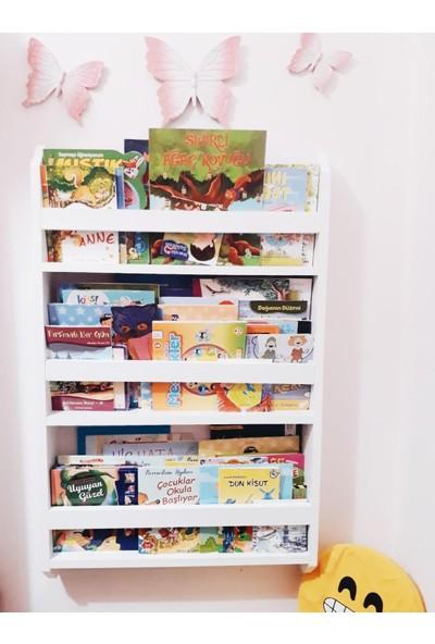 Montessori Çocuk Odası Eğitici Duvar Rafı Kitaplık 3 Raflı
