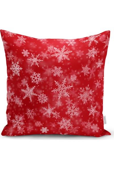 RealHomes Kırmızı Zeminde Kar Taneleri Dekoratif Yastık Kırlent Kılıfı