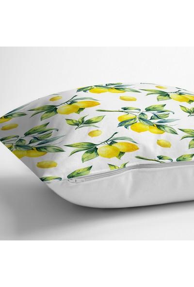 RealHomes Beyaz Zeminde Limon Desenli 3D Dekoratif Yastık Kırlent Kılıfı