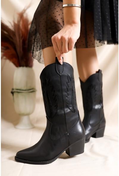 Tarçın Siyah Günlük Kadın Topuklu Vestern Çizme Trc04-01/5009
