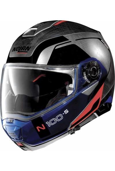 Nolan N100-5 Consistency N-Com Çene Açılır Kask Gri Mavi