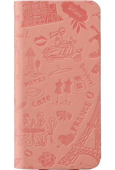 Ozaki O!coat Travel Premium Deri Folio Flip iPhone 6 / 6s Kılıf - Pembe