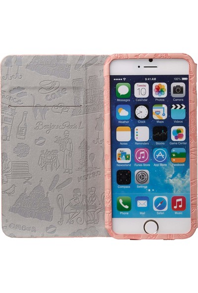 Ozaki O!coat Travel Premium Deri Folio Flip iPhone 6 / 6s Plus Kılıf - Pembe