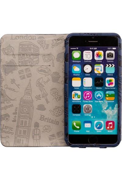 Ozaki O!coat Travel Premium Deri Folio Flip iPhone 6 / 6s Plus Kılıf - Lacivert