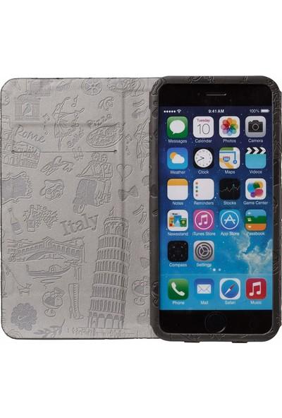 Ozaki O!coat Travel Premium Deri Folio Flip iPhone 6 / 6s Plus Kılıf - Siyah