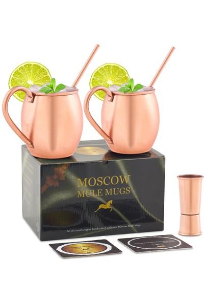 Copperbucker Moscow Mule Bakır Kokteyl Kupası 2 Li Hediye Seti- Mug- Bardak