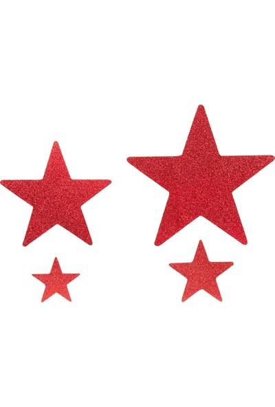 Kikajoy Yılbaşı Strafor Yıldız Dekor Süs Kırmızı 4'lü