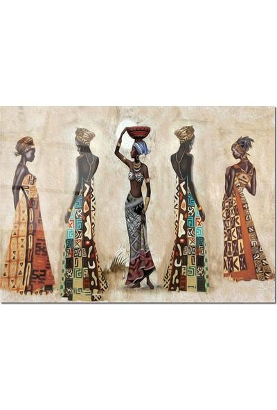 Disegno Cam Tablo Altın Kadınlar 50 x 70 cm Uv Baskı Temperli