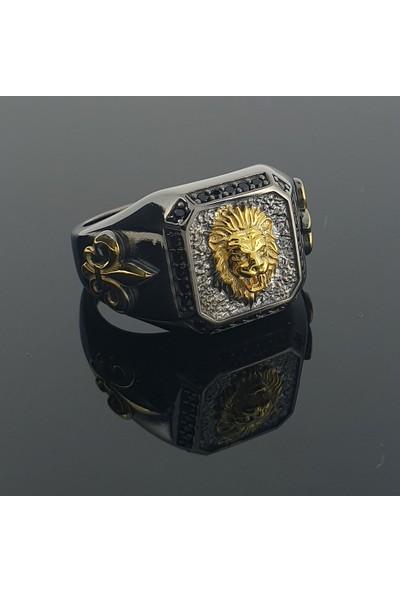 Dalman Silver Apolet Çift Renk Özel Koleksiyon Siyah Taşlı Erkek Yüzüğü