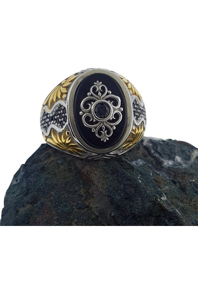 Dalman Silver Kaplama Onix ve Siyah Taşlı Özel Koleksiyon Gümüş Erkek Yüzüğü