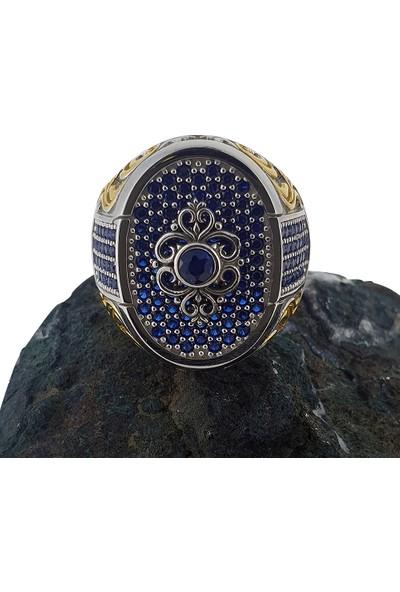 Dalman Silver Kaplama Mavi Taşlı Özel Koleksiyon Gümüş Erkek Yüzüğü