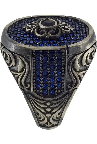 Dalman Silver Form Mavi Taşlı Özel Koleksiyon Nakış Yüzeyli Gümüş Oksitli Erkek Yüzüğü