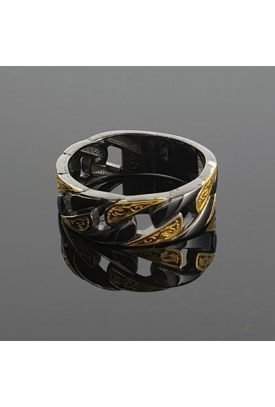 Dalman Silver Dalman Silverrenkli Dokulu Taşlı Zincir Formlu Gümüş Erkek Yüzüğü