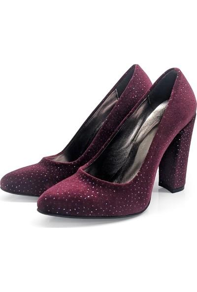 BB Shoes Stiletto Classic Abiye Bordo Simli