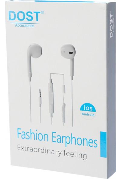 Dost Universal Mikrofonlu Kulak Içi Spiral Kablolu Kulaklık