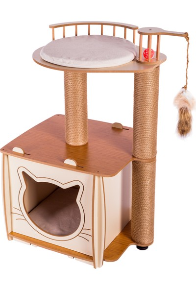 Pati Homes Pro Köşk Kedi Evi Tırmalamalı Bej