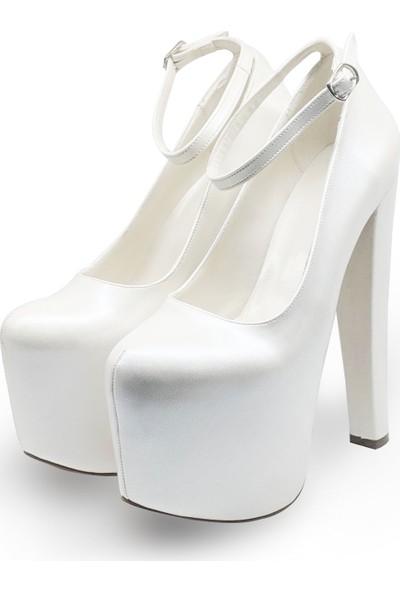 BB Shoes Flora Abiye Düğün Sedef Beyaz Renk