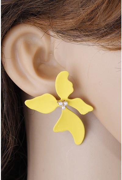 Lavisera Sarı Incili Çiçek Küpe