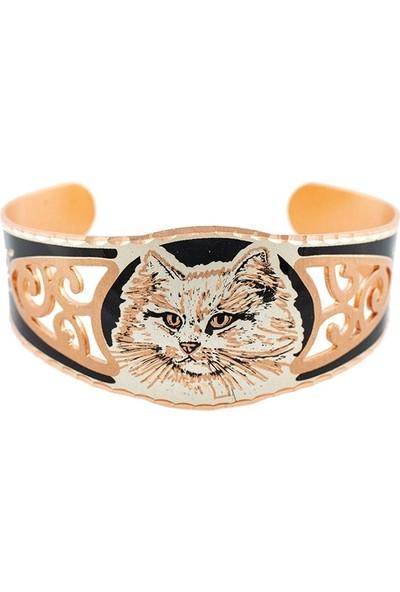Lotis Watermark Cat Bakır Bilezik