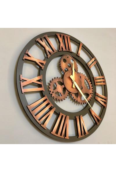 Kayra Tasarım Atölyesi Dekoratif Saat Antik Bakır 70 cm