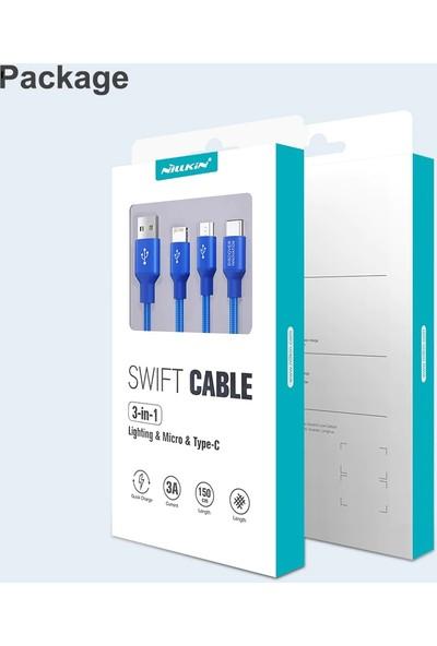Nillkin Cable 3 In 1 Universal Hızlı Şarjlı Kablosu