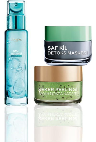 L'Oreal Paris Saf Kil Detoks Maskesi + Siyah Nokta Karşıtı Şeker Peeling Kivi Tohum + Nem Terapisi Aloe Vera Suyu Cilt Bakım Seti
