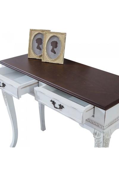 Mobilya Baba 111 Klasik Ceviz Üstü Taban Silme Beyaz Dresuar Çekmeceli Makyaj Masası