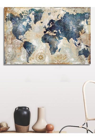 Decoizm Dünya Haritası Kanvas Tablo