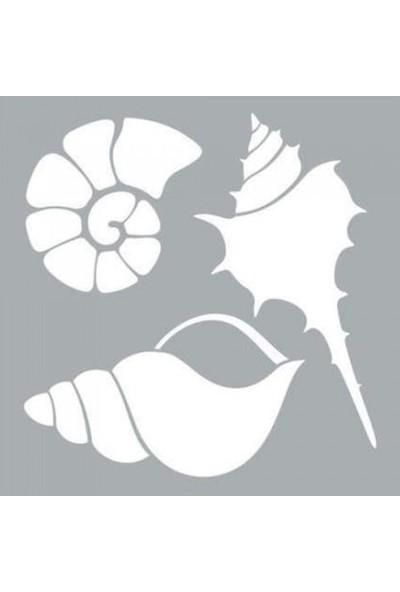 Artikel Deniz Kabukları Stencil Ve Boyama Şablonu 30 x 30 cm