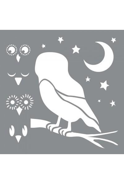 Artikel Baykuş Mimikleri Stencil Tasarımı 30 x 30 cm