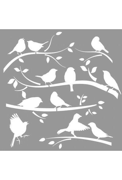 Artikel Dalda Kuş 2 Stencil Tasarımı 30 x 30 cm