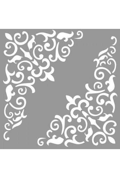 Artikel Köşe Floral Stencil Tasarımı 30 x 30 cm