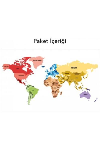Artikel Dünya Haritası 4 Duvar Sticker Duvar Çıkartması Çocuk Odası Sticker DP-1675