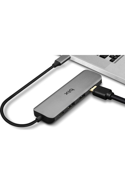 Bix BX09Hb Type-C™ Otg 1*4K Hdmı/2*Usb/1*Pd/1*Microsd/1*Sd Otg Macbook Uyumlu Çok Portlu 6 İn 1 Adaptör