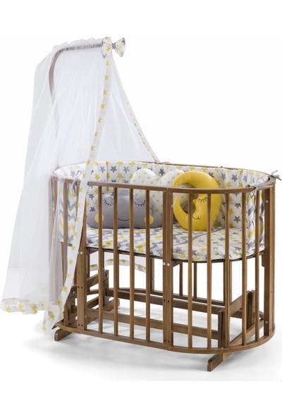 Maxi-Cosi Ahsap Beşik Anne Yanı Lüx Bebek Beşiği Sallanır 6+1 Play Beşik-Ceviz-Sarı