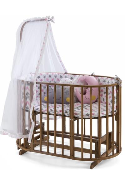 Maxi-Cosi Ahsap Beşik Anne Yanı Lüx Bebek Beşiği Sallanır 6+1 Play Beşik-Ceviz-Pembe