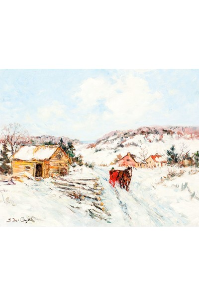 Çerçevelet Horse and Carriage on a Winter Road 30 x 25 cm