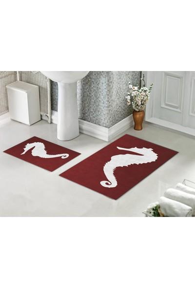 Casberghome Kırmızı Deniz Atı Desenli Banyo Paspas Seti