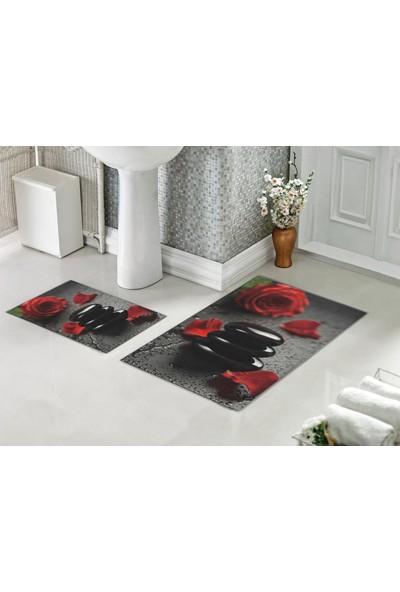 Casberghome Kırmızı Güller-Siyah Taş Desenli Banyo Paspas Seti