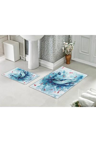 Casberghome Yunus Balığı Desenli Banyo Paspas Seti