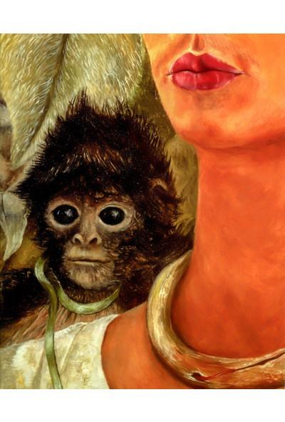 Çerçevelet Self Portrait with Monkey 25 x 30 cm