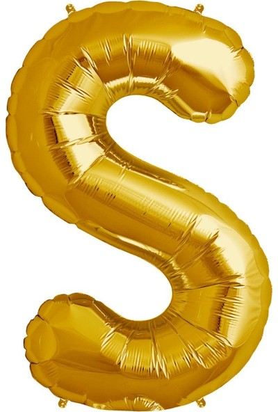 Buldum S Harfi Altın Gold Folyo Balon Harf 100 cm