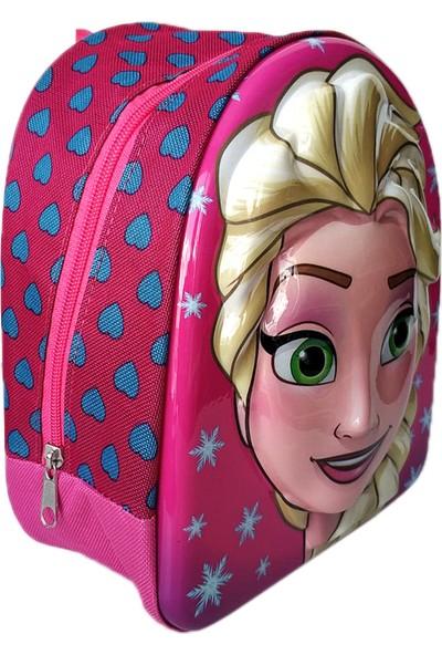 Redpoloshop Anaokulu Çekçekli Çanta Mini Sırt Çantası Seti Frozen Pembe