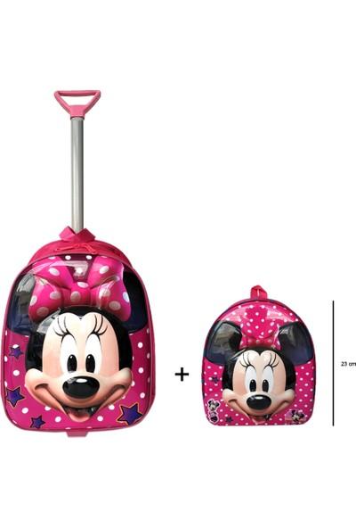 Redpoloshop Anaokulu Çekçekli Çanta Mini Sırt Çantası Seti Minnie Mouse