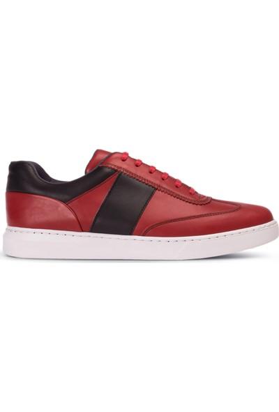Deery Deri Kırmızı Erkek Sneaker Ayakkabı