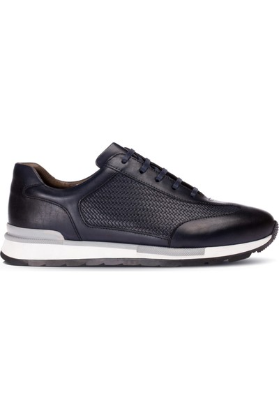 Deery Deri Lacivert Erkek Sneaker