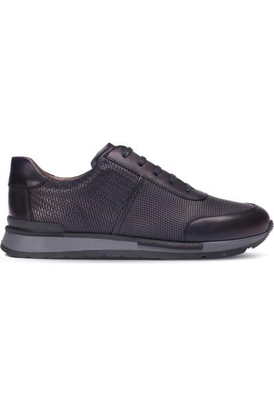 Deery Deri Lacivert Örgü Desen Erkek Sneaker