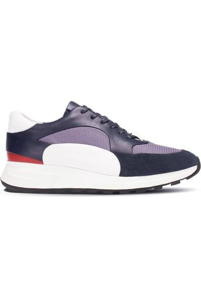 Deery Deri Lacivert Özel Üretim Erkek Sneaker