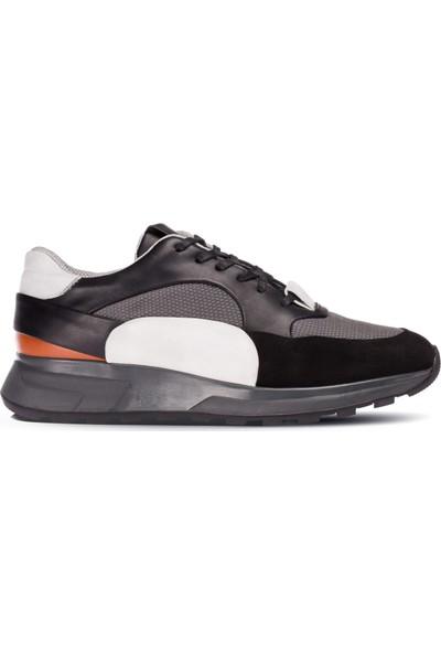 Deery Deri Özel Üretim Siyah Erkek Sneaker